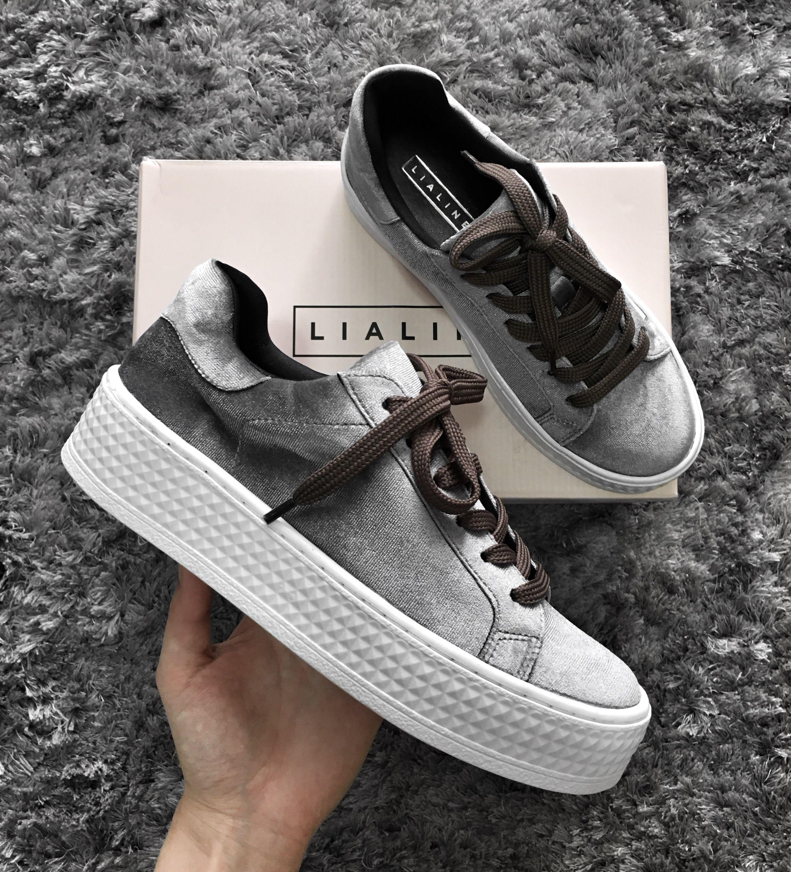 d23b0d2e4f3 tênis de veludo cinza   grey velvet sneakers.  lialinecalcados ...