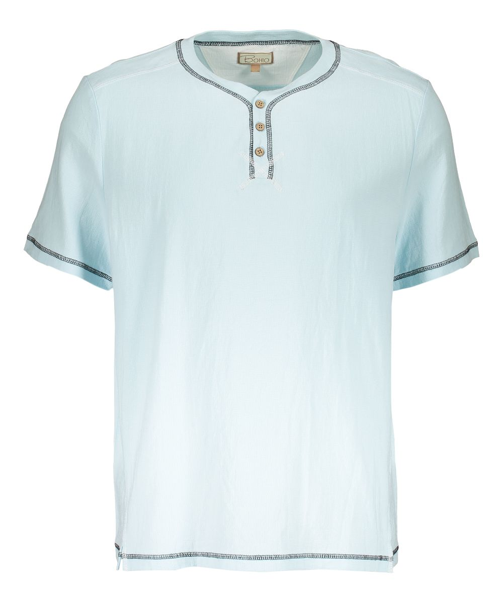 Baby Blue Button-Accent Tee