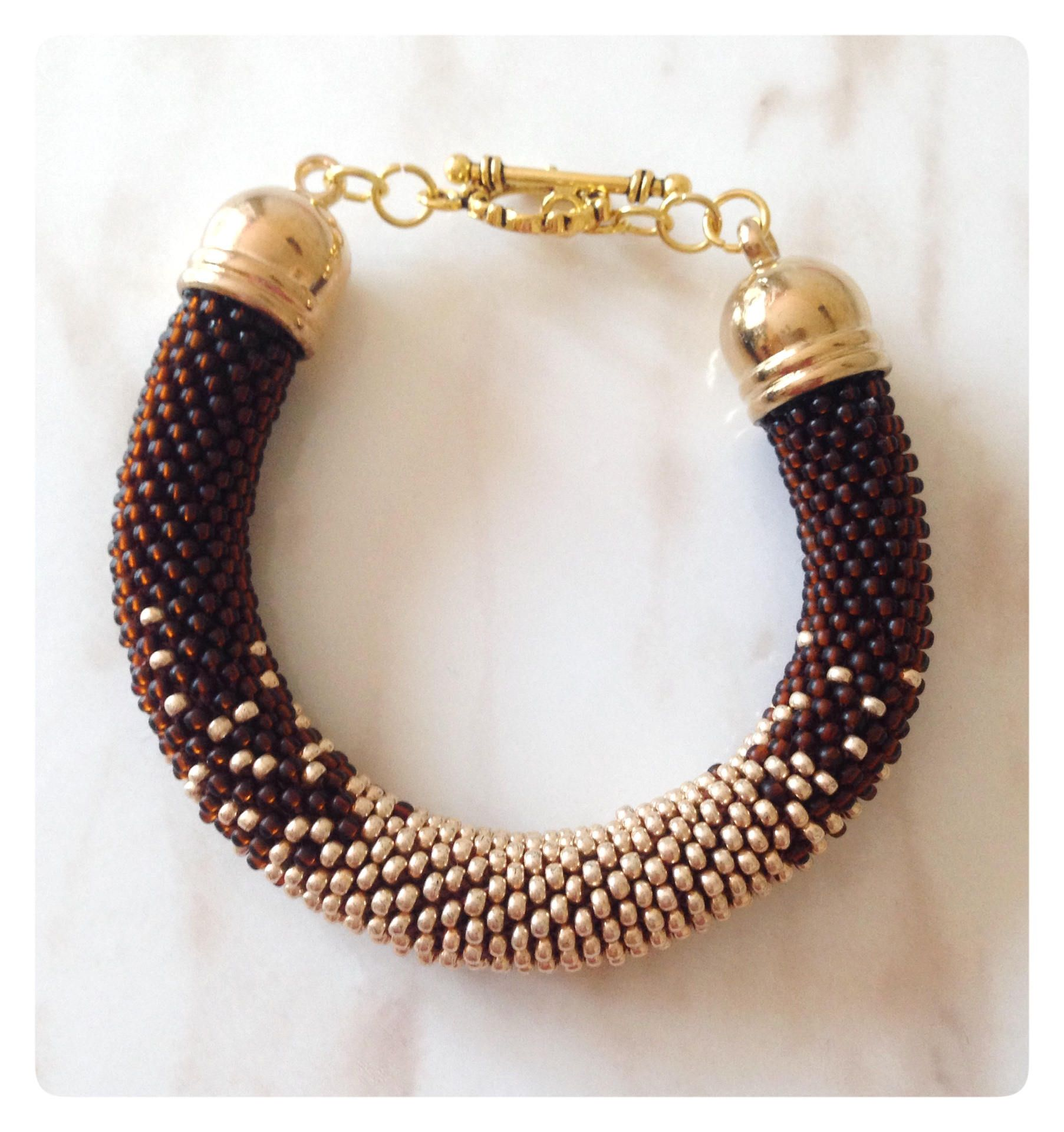 Handmade beaded bracelet in ombre stylebrown and gold fashion