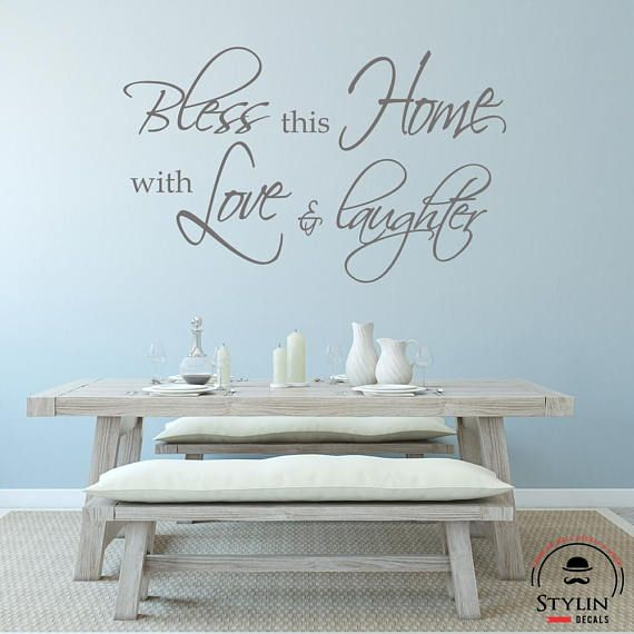 BLESS THIS HOME With Love And Laughter Wall Decal Religious Wall - Vinyl decals for textured walls