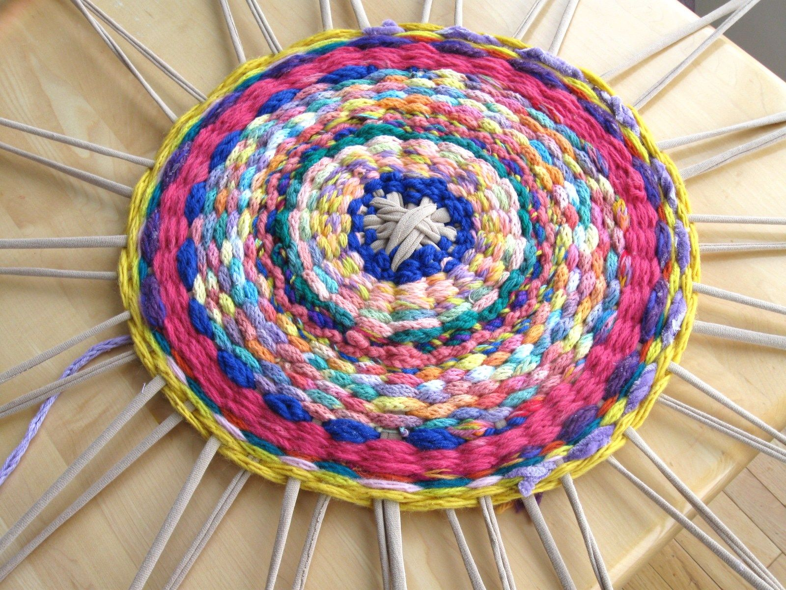 Woven Rug (or: What to do with all that finger knitting)