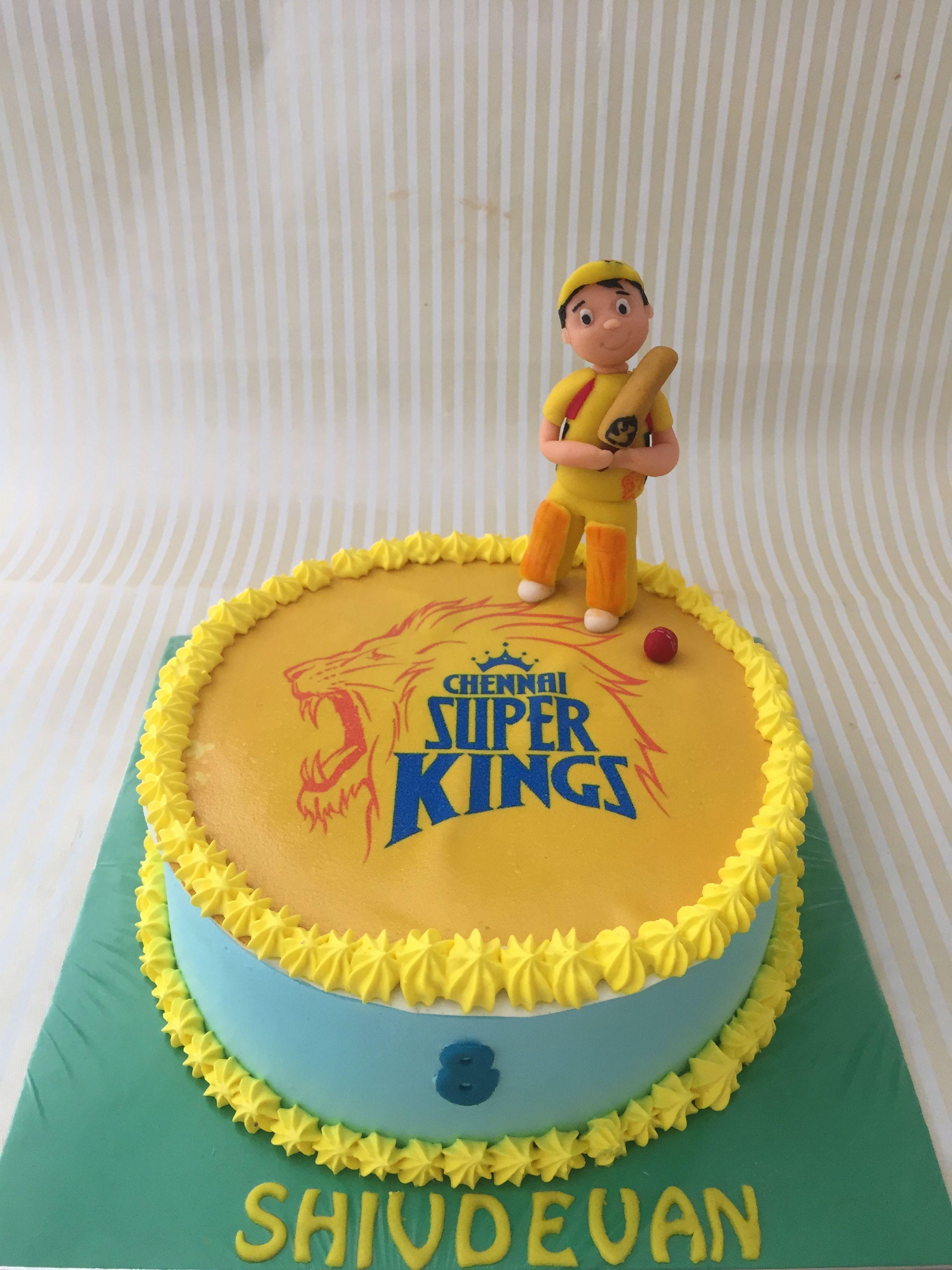 Cool Csk Cricket Cake Cricket Cake Cricket Theme Cake Themed Cakes Funny Birthday Cards Online Elaedamsfinfo