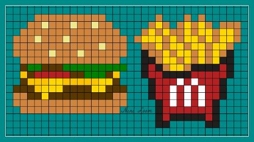 Hamburger Frites Coloriage Pixel Dessin Pixel Pixel Art Frite