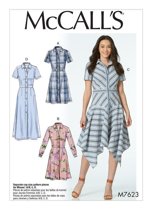 McCall\'s shirtdress sewing pattern. M7623 Misses\' Shirtdresses with ...