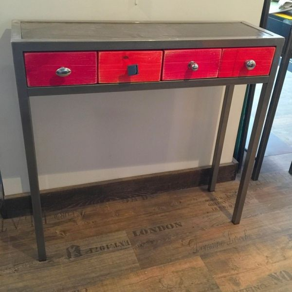 Console métal brut Design Consoles, Loft design and Lofts - meuble de rangement avec tiroir