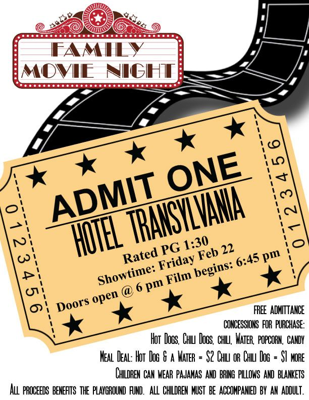 Pta Movie Night Flyer Template | Family Movie Night | Fifth Grade
