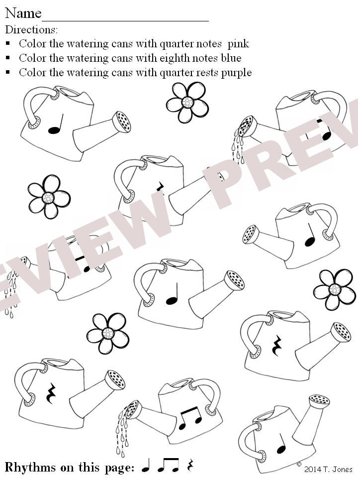 Music Worksheets Music Math Spring Into Rhythm 3 Watering Cans
