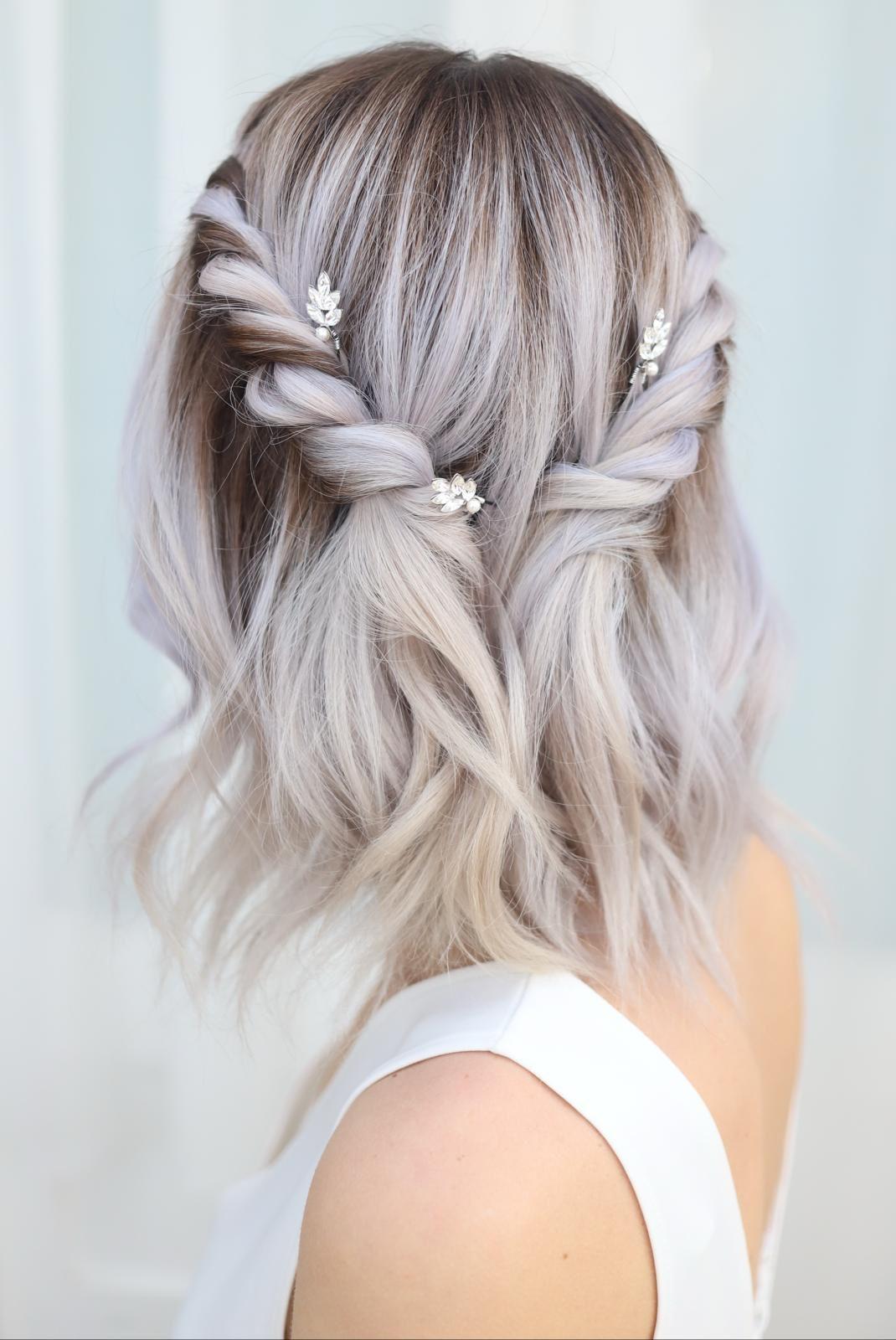 Half Up Down Style Bridesmaid Hair Updo Style In 2020 Prom Hairstyles For Short Hair Short Hair Updo Short Wedding Hair
