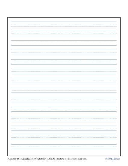 Lined Writing Paper For Kids  Writing Paper Penmanship And Sentences
