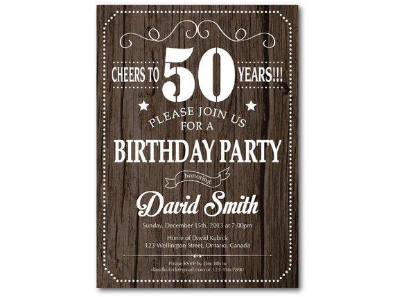 50th Birthday Invitation For Men Rustic Wood Texture 30th 40th 60th 70th 80th 90th Any Age Birthda
