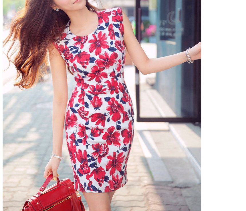 Floral Print Sleeveless Sheath Dress - chuu | YESSTYLE Hong Kong