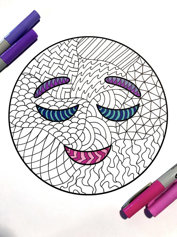 Relieved Emoji Pdf Zentangle Coloring Page Zentangle Coloring