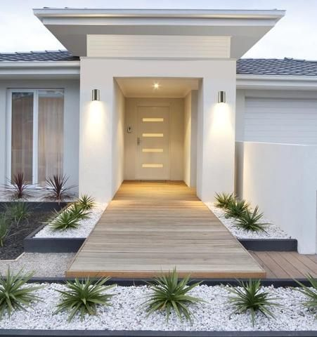 One Light Outdoor Wall Fixture House Front House Entrance Modern Landscaping Yard Landscaping