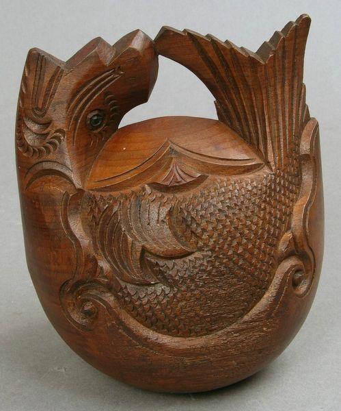 Japanese Buddhist chanting wood bell Mokugyo 1900s Japan craft