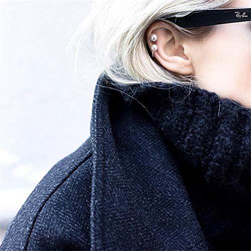 Photo of Ear Cuff Non Pierced Ear-8mm Pearl Minimalist Ear Cuff 1PCS Color Grey Pearl Ear Cuff