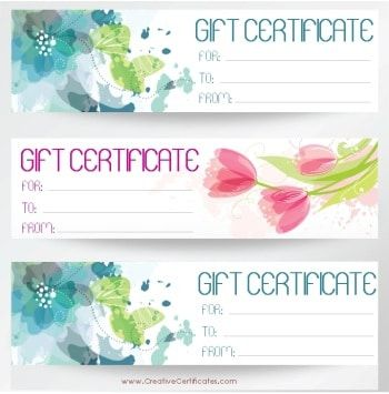 three gift certificate templates on one page with blue and pink - life membership certificate template