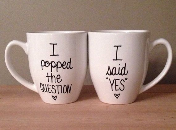 His And Hers Engagement Mugs I Popped The Question Said Yes Mug For Him Her Bridal Shower Gift Etsy Wedding