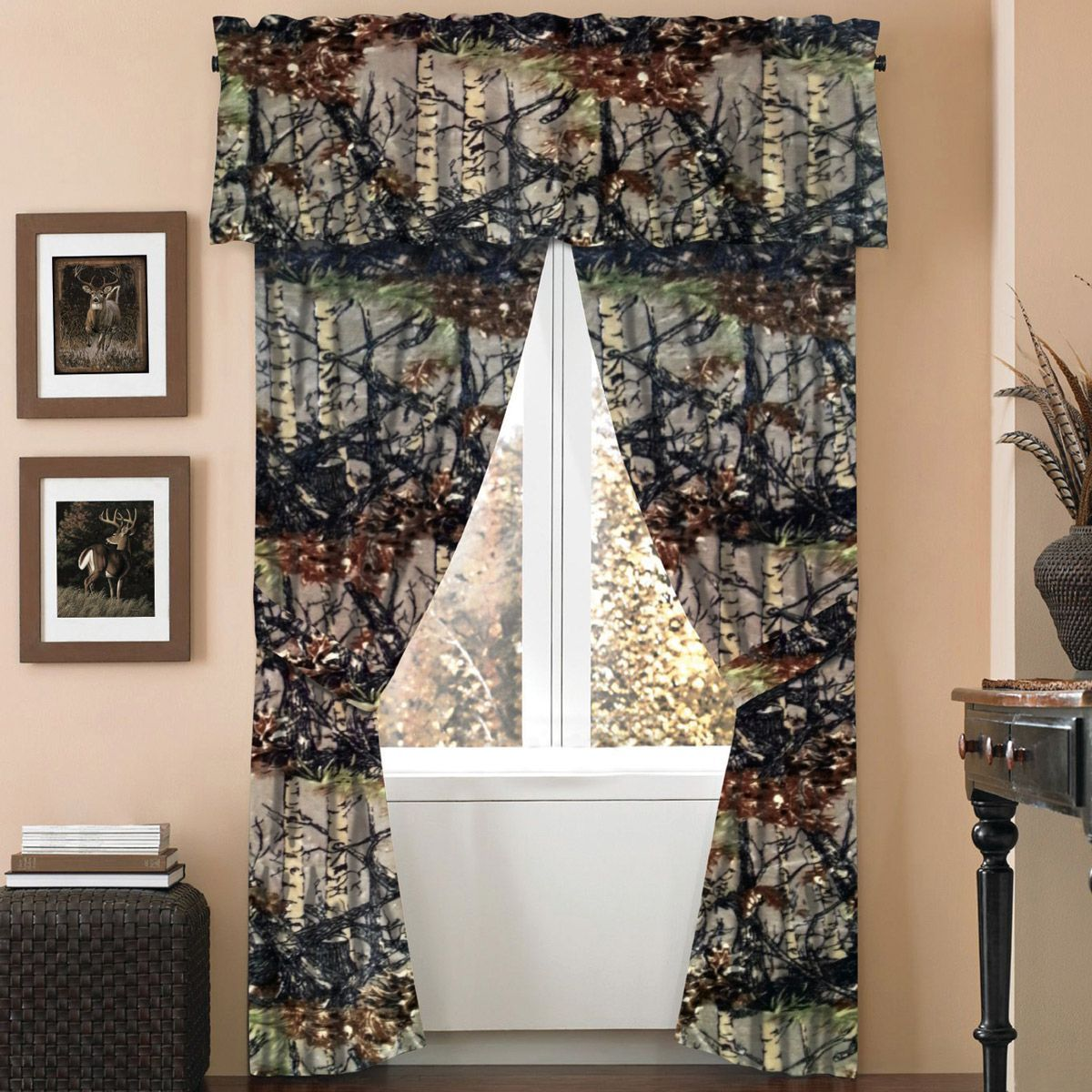 Natural Woodland Camouflage Curtain Set Curtains Rustic Curtains Curtain Sets