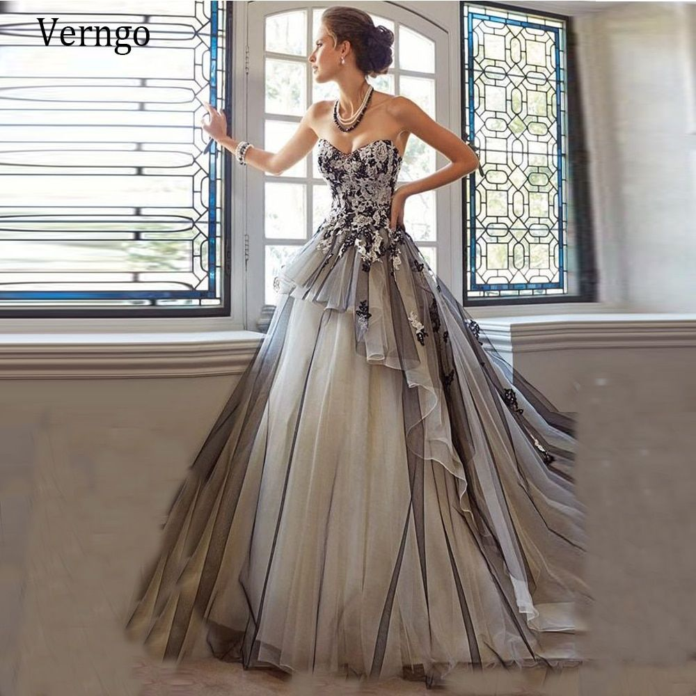 Verngo Vintage Black And Gray Wedding Dress Tulle Corset A Line Wedding Dresses Colored Wedding Dresses Bridal Gowns [ 1000 x 1000 Pixel ]