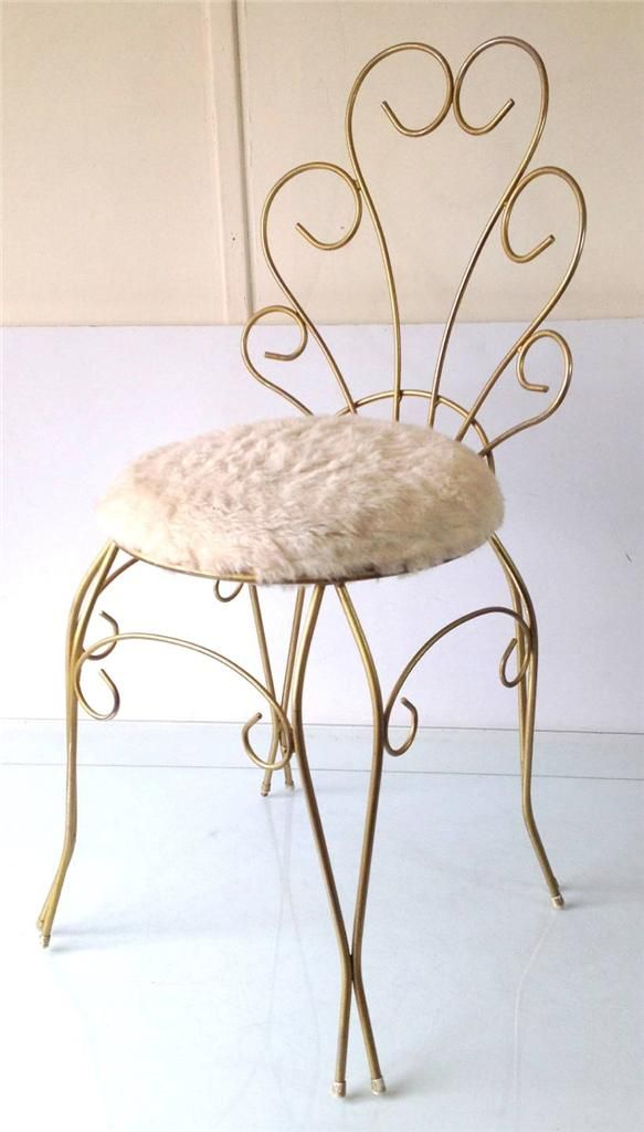 Shabby Retro Vintage 50s 60s Gold Scrolly White Fluffy Stool For