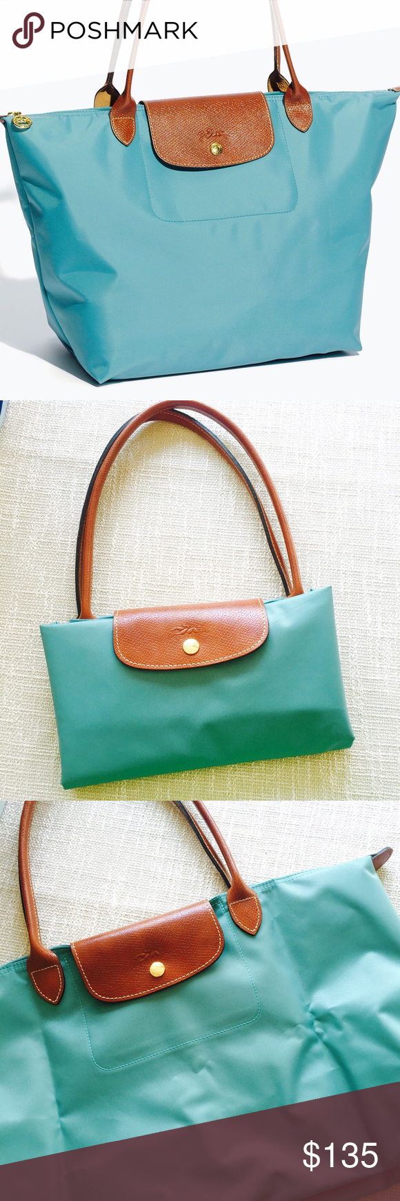 ef3acab2b9 Brand new Longchamp Le Pliage in mint Brand new never used Longchamp le  Pliage large size in beautiful mint color. One of my favorite colors for  Longchamp ...