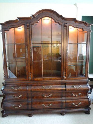 Beau Henredon Four Centuries Large Oak Lighted Breakfront China Cabinet