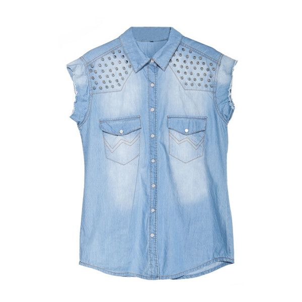 Rivets Denim Blue Blouse (1,880 MXN) ❤ liked on Polyvore featuring tops, blouses, shirts, blusas, blue short sleeve shirt, short sleeve denim shirt, short sleeve shirts, oversized shirts and button front blouse