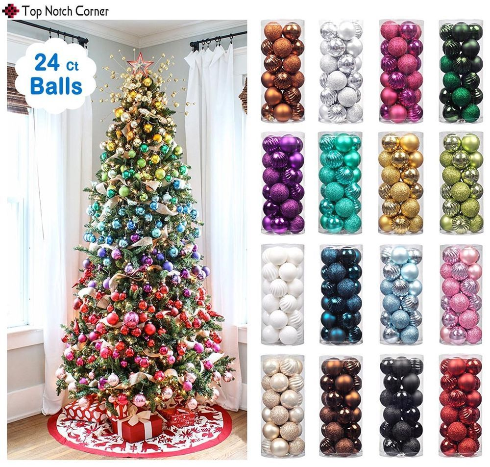 24pc Christmas Ball Ornaments Xmas Tree Decorations Shatterproof Baubles Hooks Branded Xmas Tree Decorations Rainbow Christmas Tree Christmas Tree Baubles