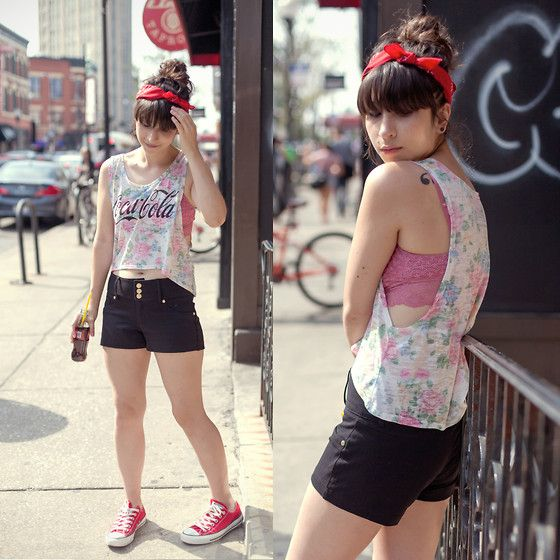 Get this look: http://lb.nu/look/6579434  More looks by Camila C: http://lb.nu/wishxbone  Items in this look:  The Classic Brand Coca Cola Floral Tank, Tj Maxx Shorts, Dsw Converse, Sparkle & Fade Brallete   #artistic #casual #street #lovetheclassic #theclassicbrand #cocacola