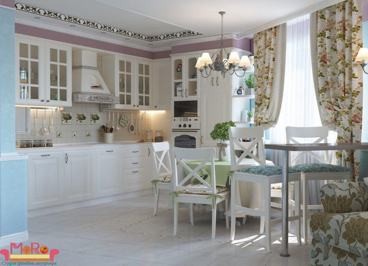 Кухня-гостиная, стиль прованс в интерьере | Интерьер кухни ...