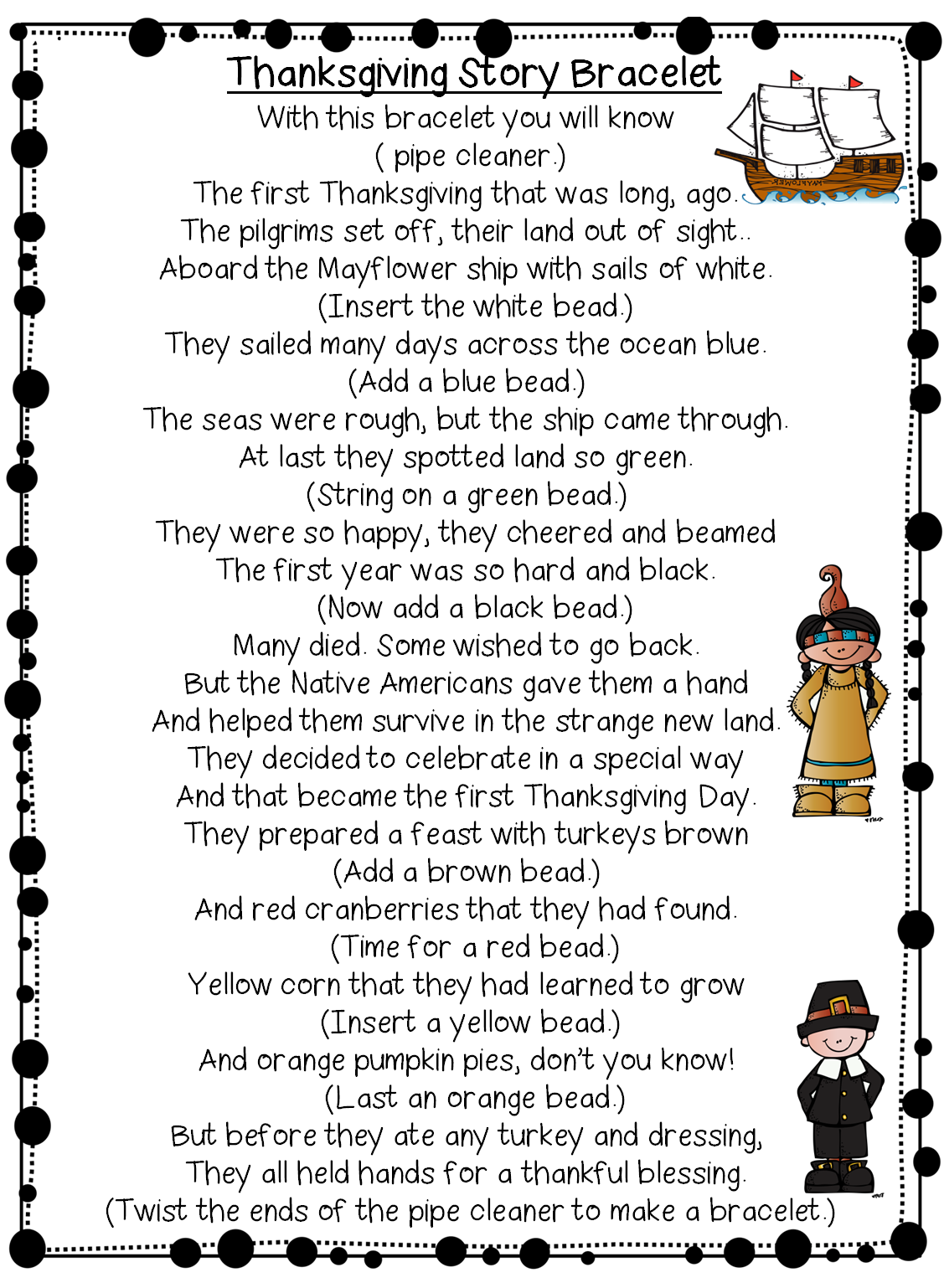 first grade wow retelling thanksgiving with a fun bracelet
