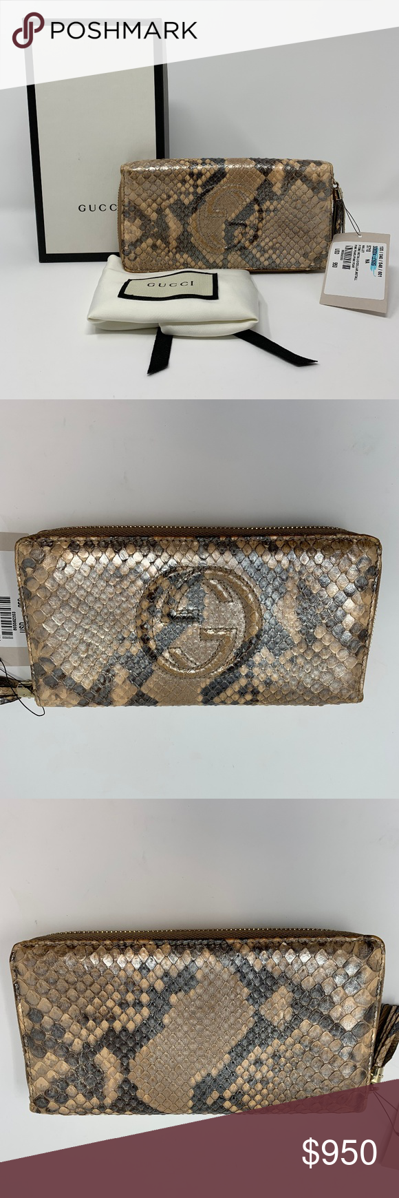 f7125184ea70 Gucci Python Snack Pink Metallic Pearl Zip Wallet Overall Condition is  Brand new with Tag Attached