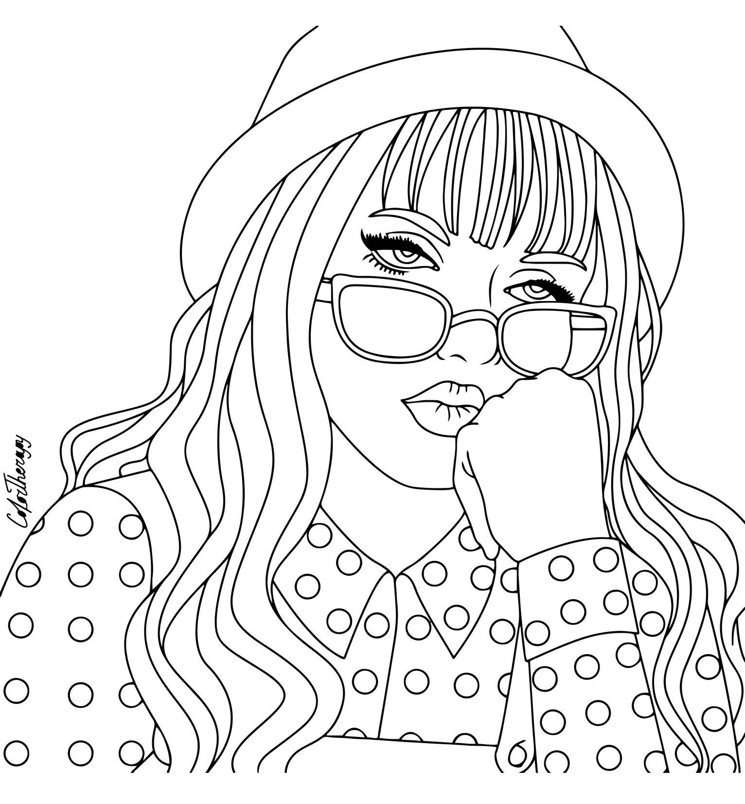 Coloring Page Fashion Gal Broderie Dessin Coloriage People Coloring Pages Cute Coloring Pages Turtle Coloring Pages