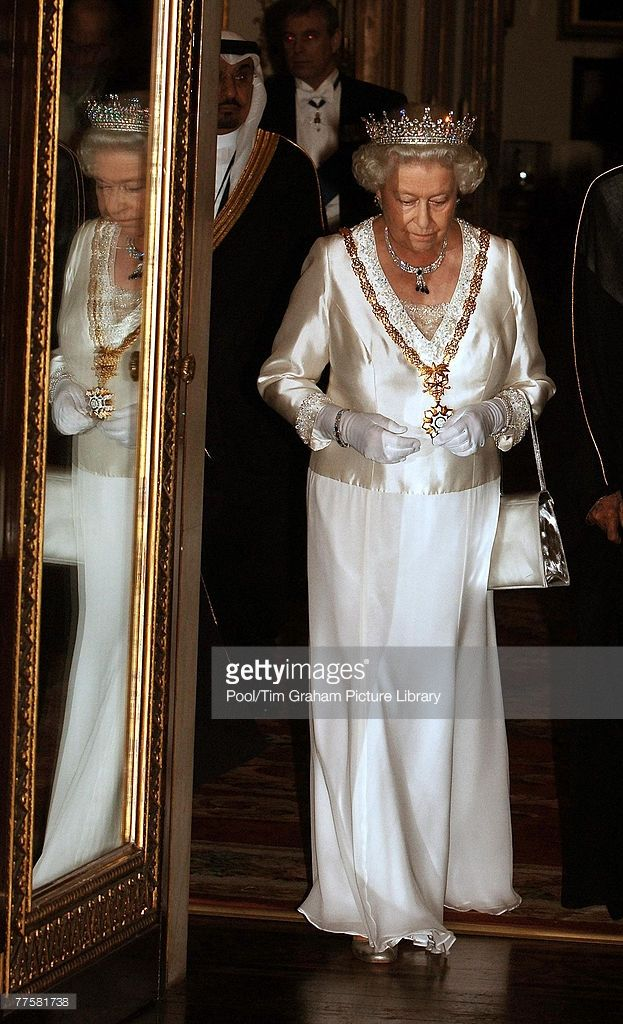 Queen Elizabeth II, wearing a diamond and sapphire necklace and earrings that had been a gift from King Abdullah when he was Crown Prince, hosts a state banquet at Buckingham Palace for King Abdullah Bin Abdul Aziz Al Saud of Saudi Arabia at the start of his State Visit to the United Kingdom on October 30, 2007 in London, England.