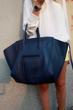 Large navy blue tote