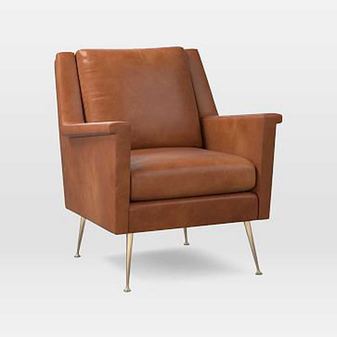 Carlo midcentury chair leather saddle brass by west