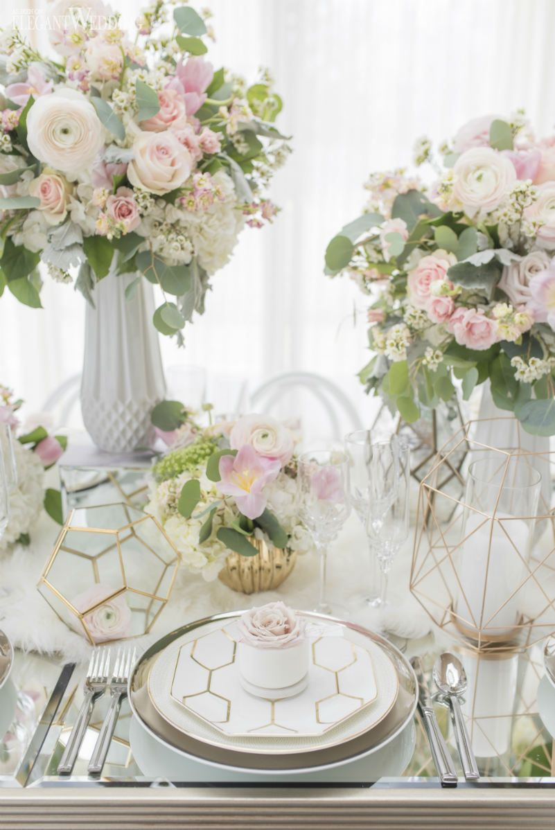 Modern Marble Wedding Inspiration | Geometric wedding, Gold wedding ...