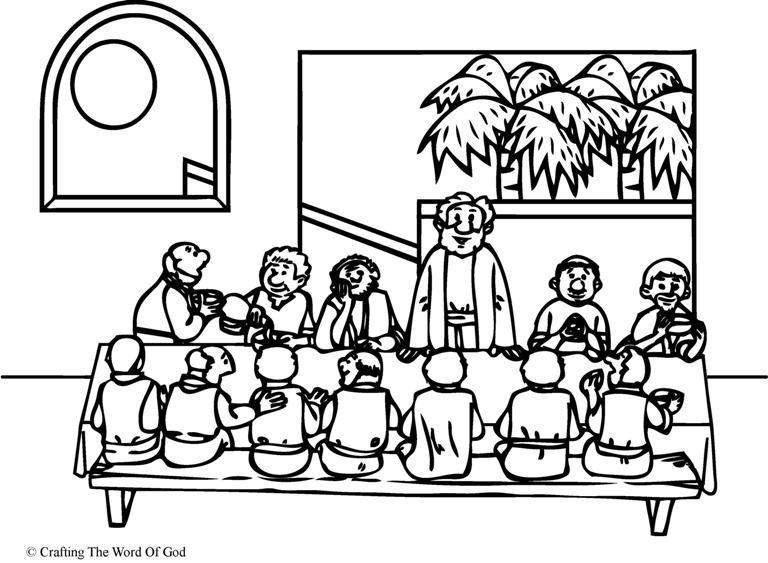 The Lords Supper Coloring Page Religió Semana Santa Y