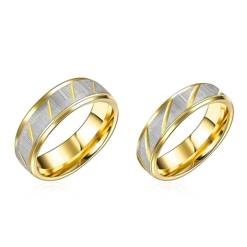Gold Color Couple Rings 316L Stainless Steel Romantic Women & Men ...