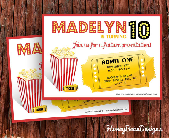 printable movie birthday invitation popcorn by honeybeandesigns