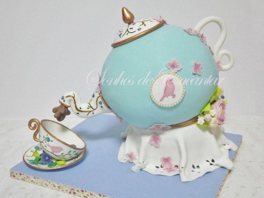 Tea pot cake - by sonhosdeencantar @ CakesDecor.com - cake decorating website