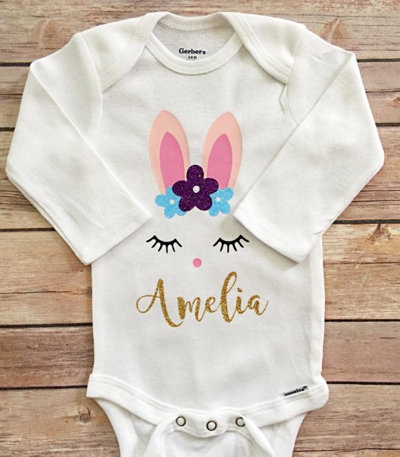 4be942713278 Custom 1st Easter Onesie, Girl 1st Easter Outfit, Valentine's Day, Baby  Girl Easter Onesie, My first