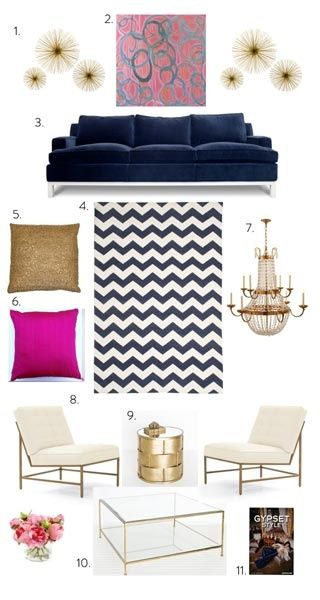 Navy Pink And Gold Home Living Room