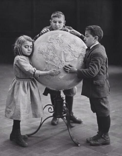 Blind children using relief globe, 1914. Julius Kirschner