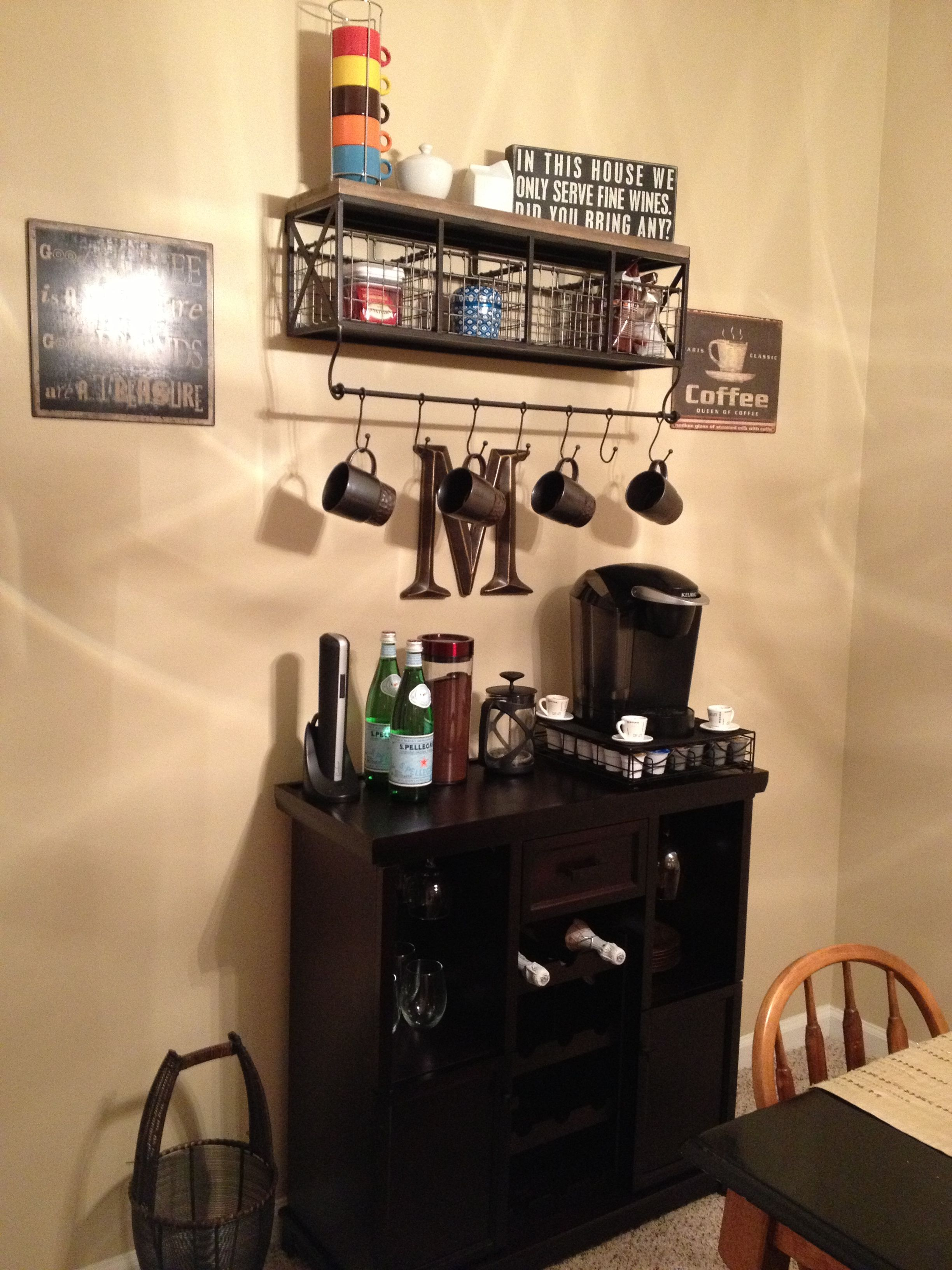 Coffee And Wine Nook! Shelf From Hobby Lobby And Wine Rack