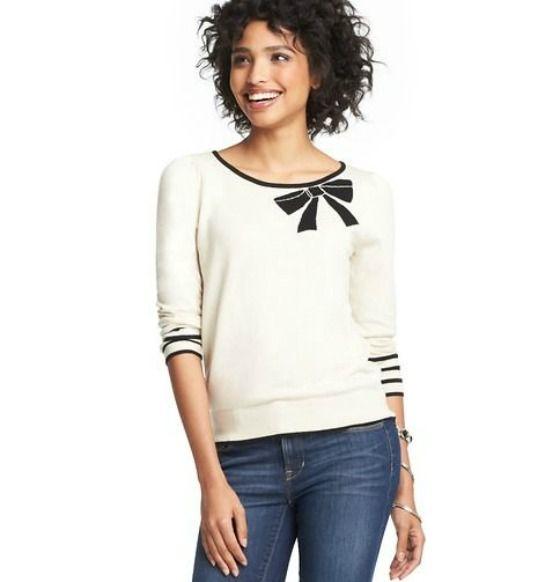 Glamorous Sweaters - The Glamorous Housewife. White boatneck bow trim
