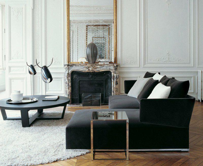 Klassische Wohnungseinrichtung Ideen In Schwarz Weiß