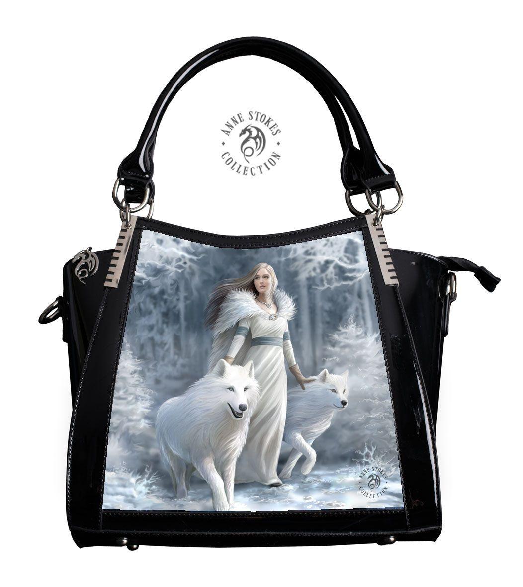 ANNE STOKES 3D Large Hand Bag Black PVC Goth Blue Mermaid Sailors Ruin