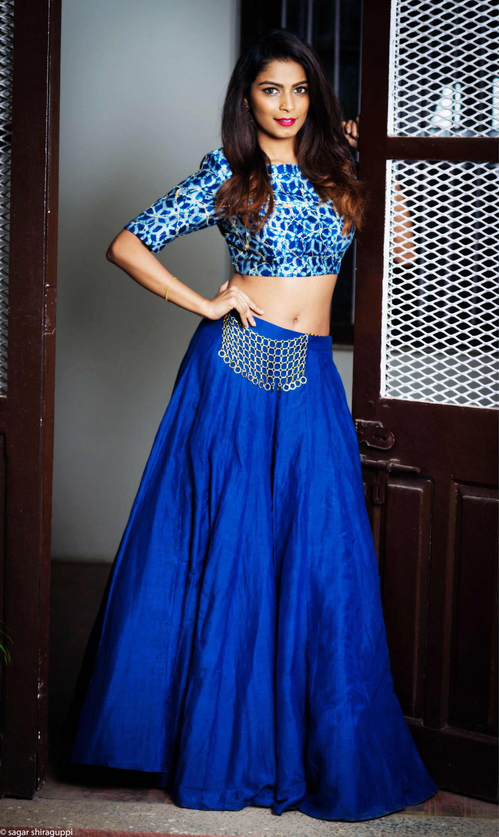 bd2d28f515bb0 Pure Silk Designer Lehanga with hand embroidered blouse Crop Top and Maxi  Skirt Long Skirt with Choli. This Designer Indigo Blouse fabric is crafted  using ...