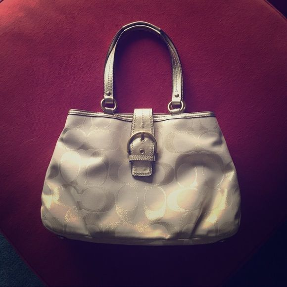 Coach shoulder bag. Pristine!  Gorgeous Coach shoulder bag only used once. NWOT.  Dare you to find one like it.  Too pretty not to have a home! Coach Bags Shoulder Bags